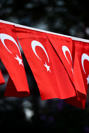 Several Turkey flags are seen during the countrys national day 写真素材