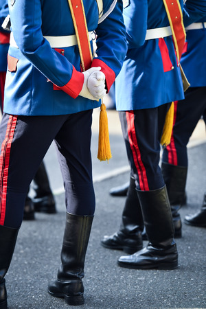 Soldiers from a national guard of honor during a military ceremony Stock Photo
