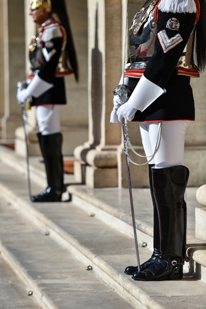 Italian national guard of honor during a welcome ceremony at the Quirinale Palace.