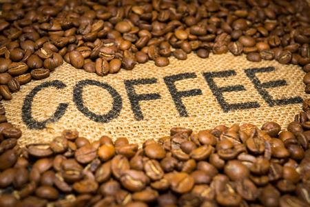 Coffee word and beans Zdjęcie Seryjne