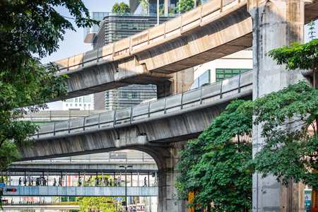 Concrete construction of the skyline train way in Bangkok, Thailand Zdjęcie Seryjne