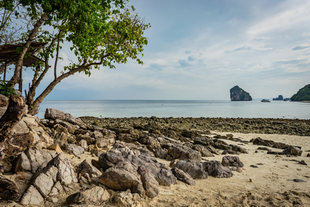 Beach with sand and stones in Krabi area, Thailand, Thailand Zdjęcie Seryjne