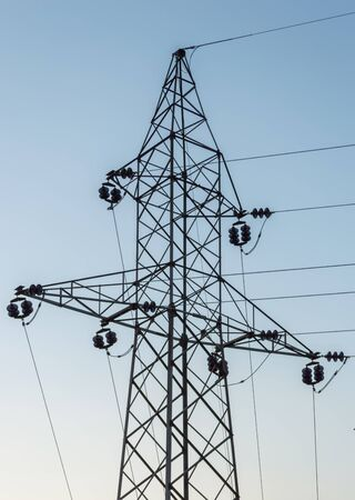 electric tower: Silhouette of high voltage electric tower in Montenegro