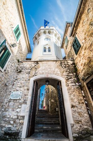mediterranian: Clock on entrance of castle in Herceg Novi