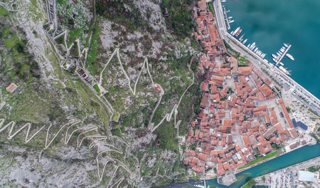 Old town of Kotor aerial view