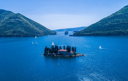 Islands in the Bay of Kotor, Perast, Montenegro,drone view