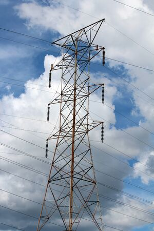power lines: High Voltage Power lines Stock Photo