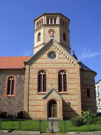 Peace church on the place Ossietzky in Berlin Niedersch�nhausen Stock Photo