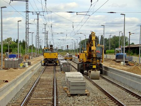 Rail construction work in the railway station Prenzlau