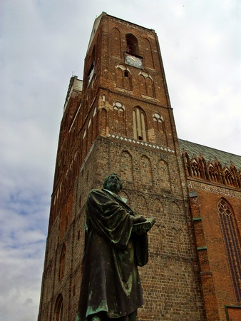 Martin Luther monument in front of the St  Mary s Church  Stock Photo