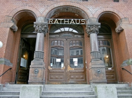 Main entrance of the Town Hall in Berlin Pankow