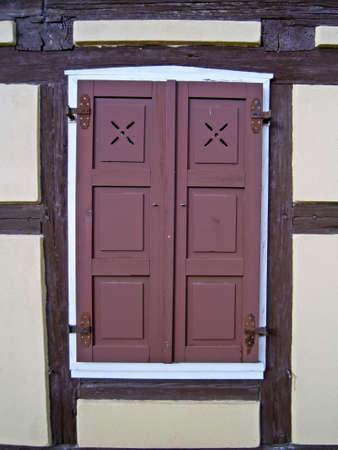 fachwerk: Shutters in the half-timbered buildings  Stock Photo