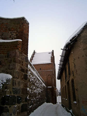 Historical town wall of Templin in winter