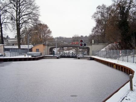 Sluice in winter Stock Photo