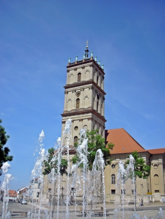 neustrelitz: Fountain in front of the town church