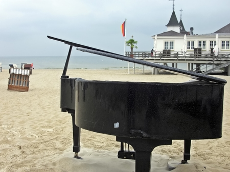 The piano on the beach Stock Photo