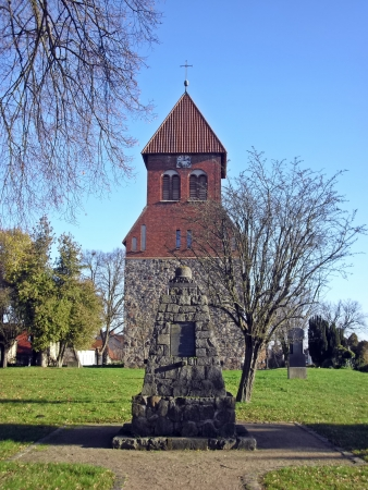 obelisk stone: Evangelical Church with stone obelisk