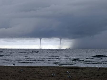 severe weather: Storm before Usedom Stock Photo