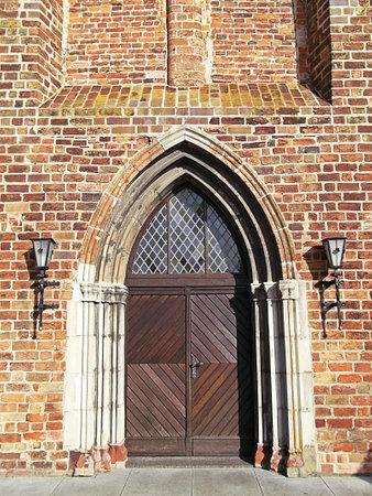 evangelical: Door to the Evangelical Church of St. Nikolai Editorial