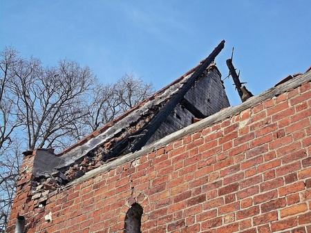 gibel: Burned Brauhaus in Himmelpfortgrund Stock Photo