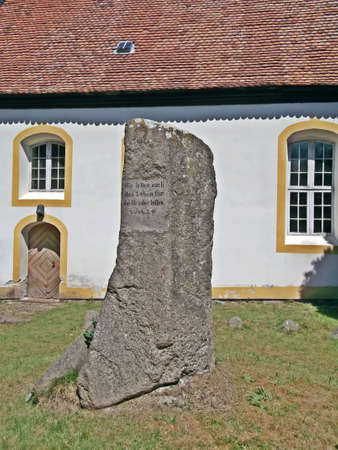 lutheran: The memorial stone in front of the Evangelical Lutheran Church