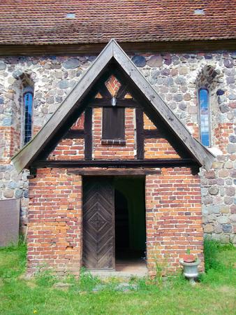 Entrance to eangelisch Lutheran village church Stock Photo