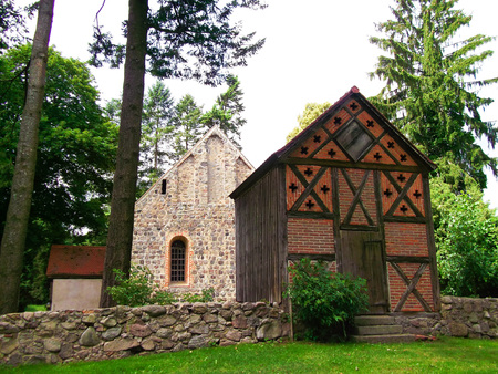 gibel: Protestant church with bell tower Stock Photo