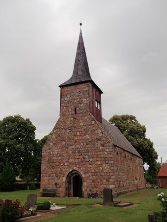 windows and doors: Evangelical Church in Zollchow Stock Photo