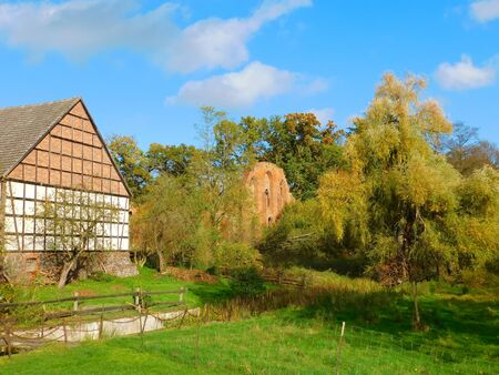 A typical house in Uckermark, in the northeastern part of Brandenburg, Germany Stock Photo