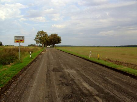 Road construction areas in the Uckermark Stock Photo