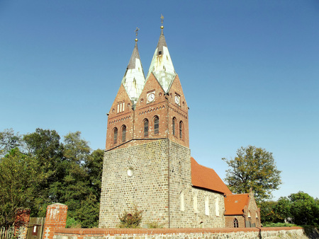 The two-towered Protestant village church