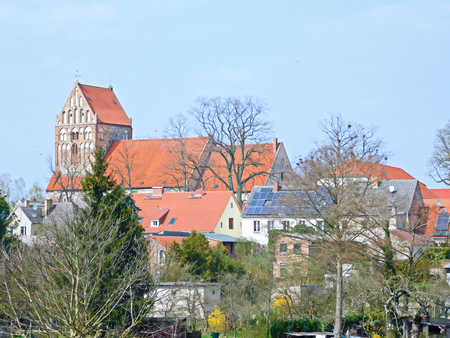 View to the protestant town church Saint John