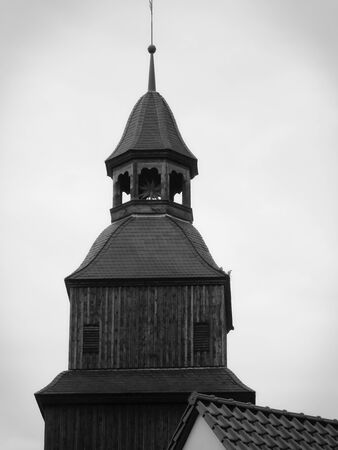 Church tower of the Protestant stone church of the Middle Ages