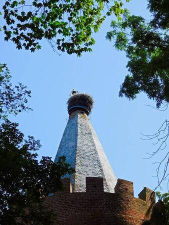Storks in Storks Nest on the Powder Tower Stockfoto