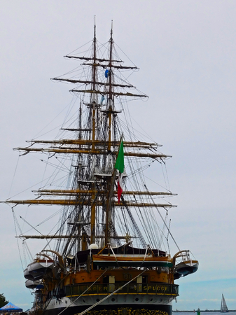 The sail training ship of the Navy in the port of Warnemnde
