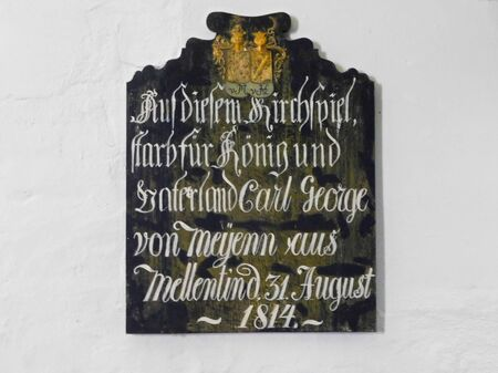 The sign in the church with the inscription: In this parish, Carl Georg von Meyenn from Mellentin died on August 31, 1814 for the King and fatherland