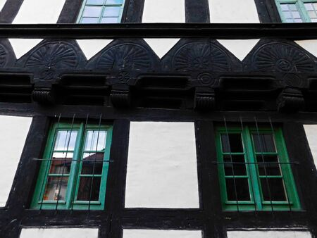 The historic half-timbered building of an old town
