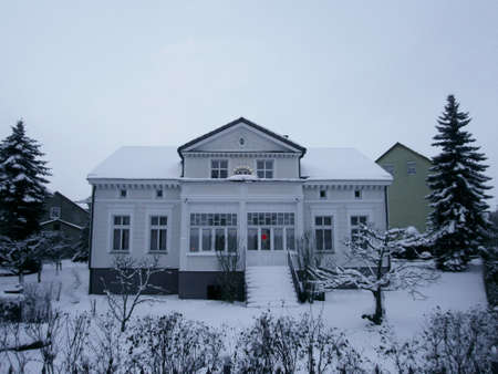 Templin, Uckermark in the state Brandenburg, Germany - December 13, 2012: City villa in winter