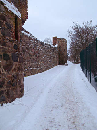 Historic city wall from the Middle Ages in winter