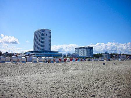Warnemünde, Mecklenburg-Western Pomerania / Germany - August 20, 2013: On the Baltic Sea beach of Warnemünde Publikacyjne
