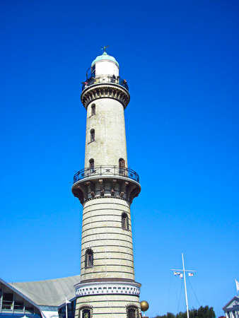 The lighthouse on the Baltic Sea coast in Warnemünde