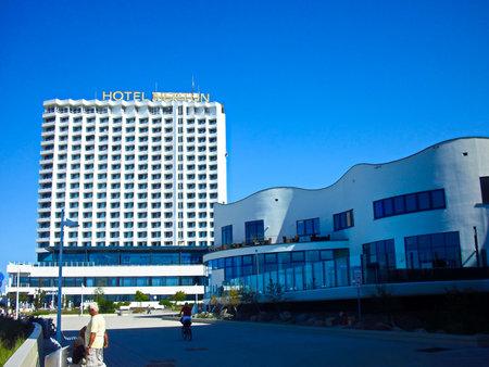 Warnemünde, Mecklenburg-Western Pomerania / Germany - August 20, 2013: The Neptun Hotel on the Baltic Sea coast