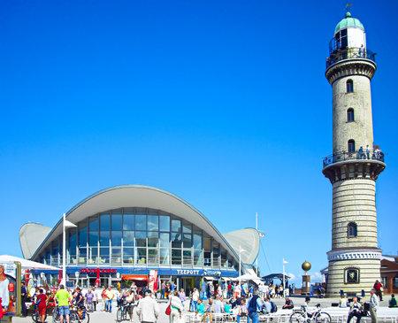 Warnemünde, Mecklenburg-Western Pomerania / Germany - August 20, 2013: The lighthouse with tea pot on the Baltic coast