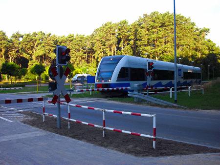 Trassenmoor, Mecklenburg Western Pomerania / Germany - September 08, 2013: Train at the signal system Publikacyjne