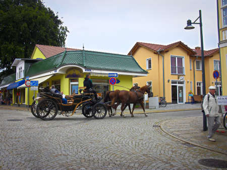 Ahlbeck, Mecklenburg Western Pomerania / Germany - September 09, 2013: A carriage ride in the Baltic Sea resort