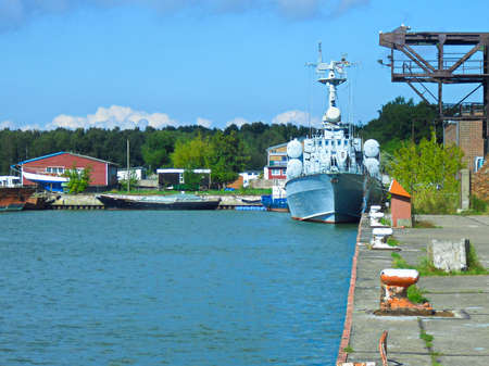 The harbor basin on the Baltic Sea in the Peene River Zdjęcie Seryjne