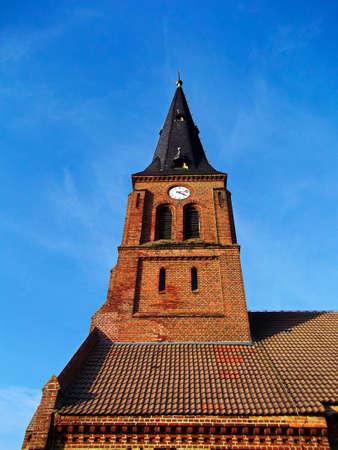 The evangelical church in the village Foto de archivo