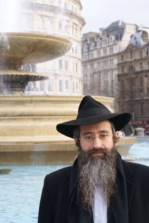 hasidic: A Jewish man on Trafalgar Square, London Stock Photo