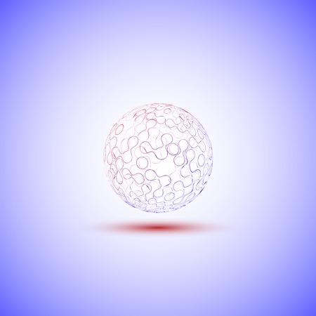 decomposed: transparent sphere on a blue background vector.