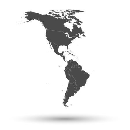 mapa politico: Del Norte y Am�rica del Sur mapa de fondo vectorial.